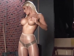 Blonde In Shiny Pantyhose Teases