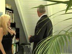 Blonde Secretary Seduces Aged Bos
