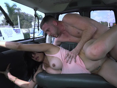 A large ass honey is in the back of a car and moreover she is showing adore