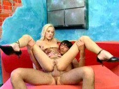 Blond floozy fucked in butt & mouth