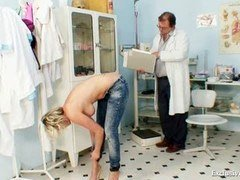 Hot Gabriela stripping naked in gyno office