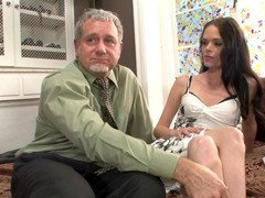 Aged man fucks buxom bitch & skinny miss at just one time