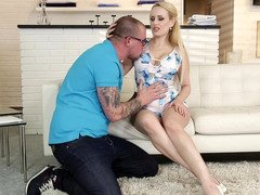 Blonde that has awesome boobs is licked and moreover her boobs are groped