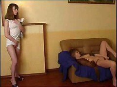 Dirty breasty mother licks young and also nice-looking hot daughter's love hole
