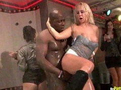 Oily and plus Drenched Orgy Party at the Club