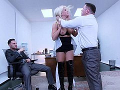 Sexy secretary discovers her snatch can swallow a couple of