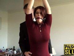 Bondaged redhead beauty Lucia Appreciate rides a stick prick