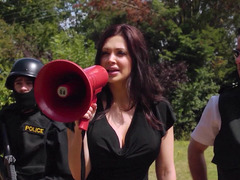 Hungarian dark haired babe dressed as a police woman screws a dude