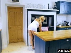 Aged mom seduces a young guy & fucks him in the kitchen