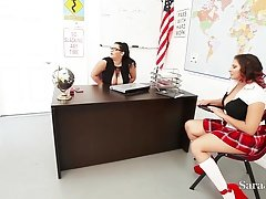 Teachers Sara Jay & Angelina Castro Get down and dirty Pupil Gia in Class!