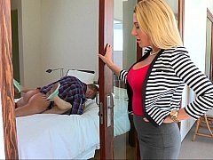 Glamorous blonde mom watches her daughter fuck