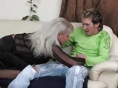 Hot Russian Mommy Saggy Titties Fucked Young-looking Fella Stockings