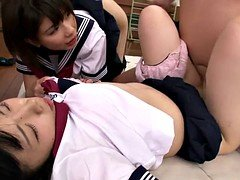 Slutty young and fresh japanese schoolgirls sharing cock