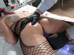 Redhead bitch is getting fucked in the examination room