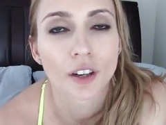 Fit blonde bangs herself with dirty talk
