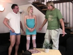Wife in white stockings cuckolds husband