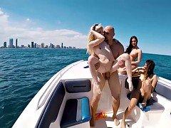 Slutty bikini gals got fucked on a boat
