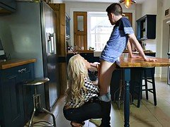 Young and fresh lad fucks his girlfriends blonde MILF stepmom