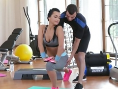 Gym gal doggystyle fucked by trainer