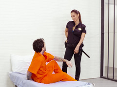 A chick with natural tits is getting fucked in a jail cell