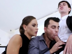 Office studs engage in a mad bi threesome with classy chick