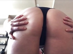 Plumpish girl farting in her thong