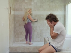Robby fucks his busty stepmom in the shower