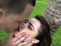 Bonded teen girlfriend railed rough outdoors