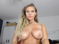 provocative ashley - busty blonde with big naturals on webcam
