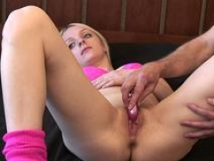 Hot Blonde Masturbated By Grown-up Cameraman To Strong Orgasm