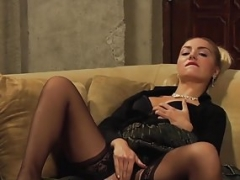 Bigtitted Lesbian Femdom goddess Masturbates In Front Of Slave