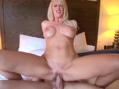 Riley Jenner slurps and gags on thick cock before some rough fuck