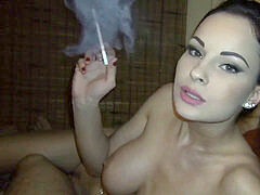 girl just loves to smoke during fiery fuck-fest