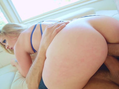 Two hung dudes are doing a hot threesome with blonde housewife
