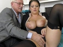 full-bosomed secretary screwed in rear by older guy