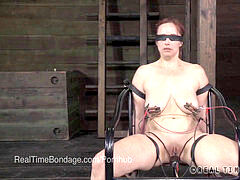 buxomy Bella Rossi blinded and Interrogated with electric current