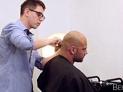 trimmed hunk Thomas Friedl barebacks youthfull hairdresser