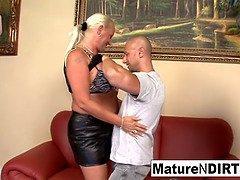 Huge titted blonde grannie takes it in the bum