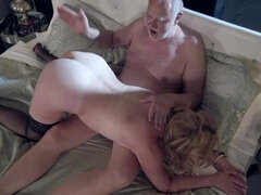 Old lady and her bald prince have pretty sensual sex in the bed