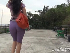 Naughty Lada shows her bubble ass in public