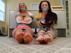 Very nice bound barefoot scene with mother and daughter