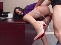 Fluffy assed secretary is plowed on the floor