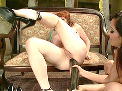 Beutiful huge-chested readhead in professional rectal training. Part3