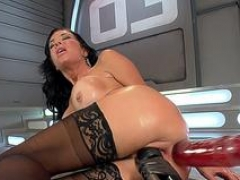 Breasty machine soccer mom squirts while dildoed