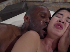 Asian schoolgirl gets her pussy widened by black-skinned bull