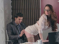 Nerdy babe is often fucking her boss