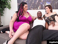 successful dark-hued Dude Gets BJ From plumper Angelina Castro & Sara Jay