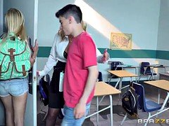 Teen blonde Alex Grey and her young friend learn from mature teacher