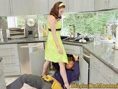 Interracial housewife trio with handymen