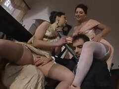 Hot babes in beautiful evening gowns 3some sex